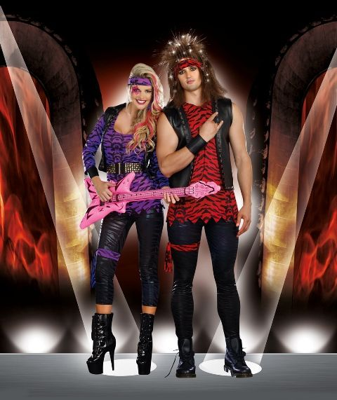 Men S And Women S Rockstar Couple Costume Rockstar Costume 80s Theme Party Outfits Couples Costumes