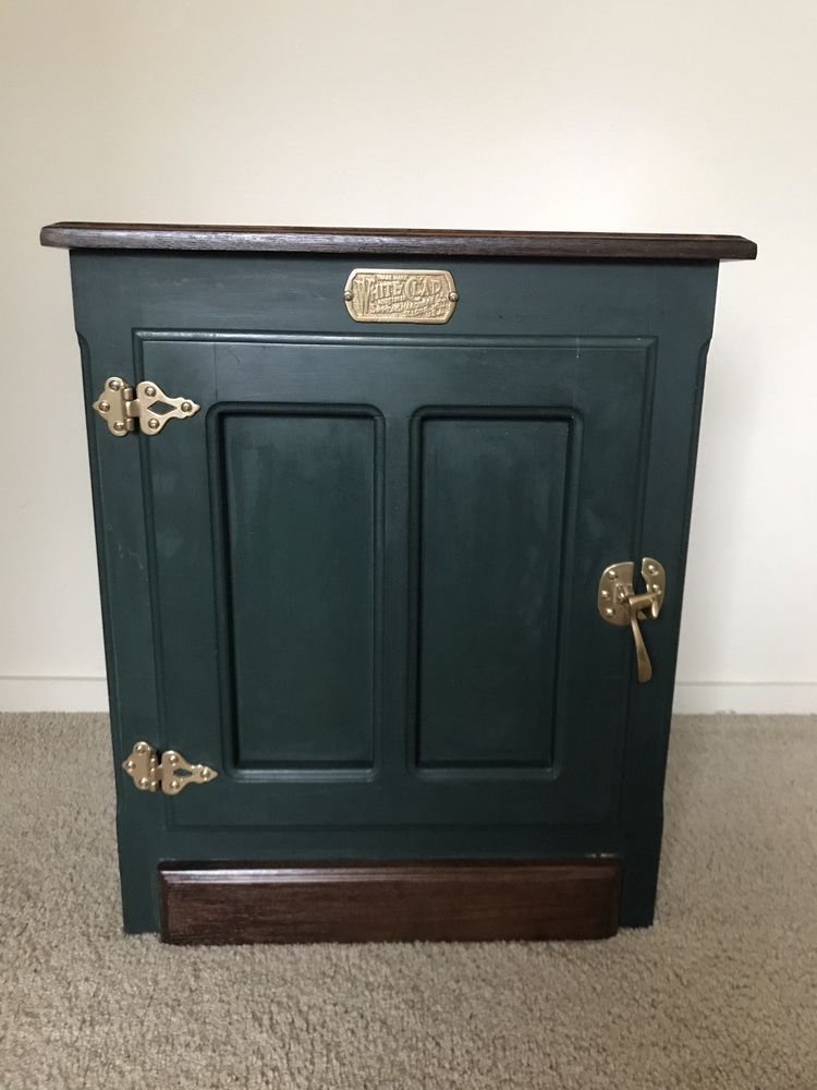 Vintage White Clad Ice Box Cabinet End Side Table Solid Oak Brass Hardware Painting Oak Cabinets Green Wood Stain End Table Makeover