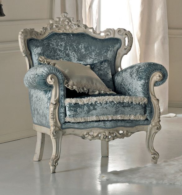 Paris collection Rococo armchair in baby blue crushed velvet on a white distressed carved frame from solid walnut.