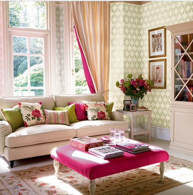 Lovely Green And Pink, With A Little Bit Of Yellow. This Room Pulls It Off Well.  Is It The Green? The Balance Of Colors? I Want Pink And Green  Sophistication! Great Ideas