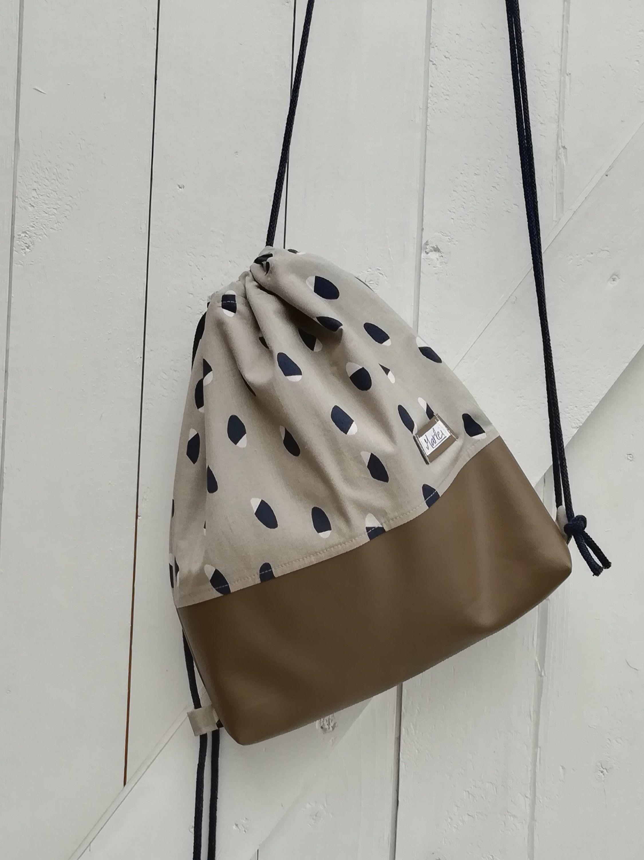 Rucksack Turnbeutel Muster Blau Beige Bags Backpacks Drawstring Backpack