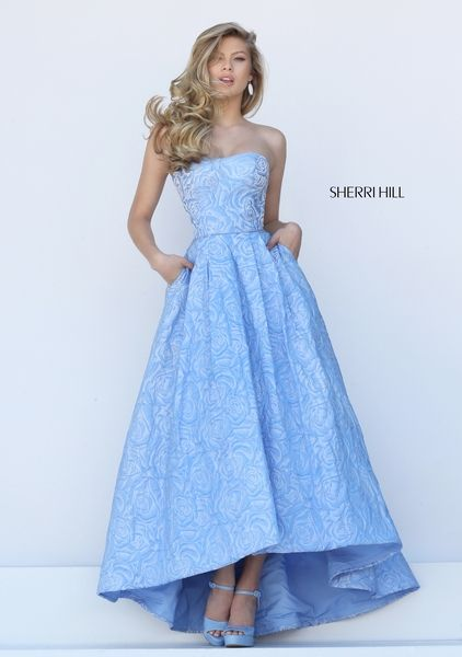 1e5e2665aec Sherri HIll patterned prom dress with pockets and Aubrey length - Prom  Dresses at Hope s Bridal