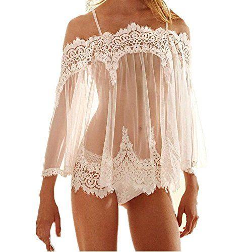 d68419177 Tloowy Womens Sexy Lace Lingerie Sheer Babydoll Sleepwear... https   www