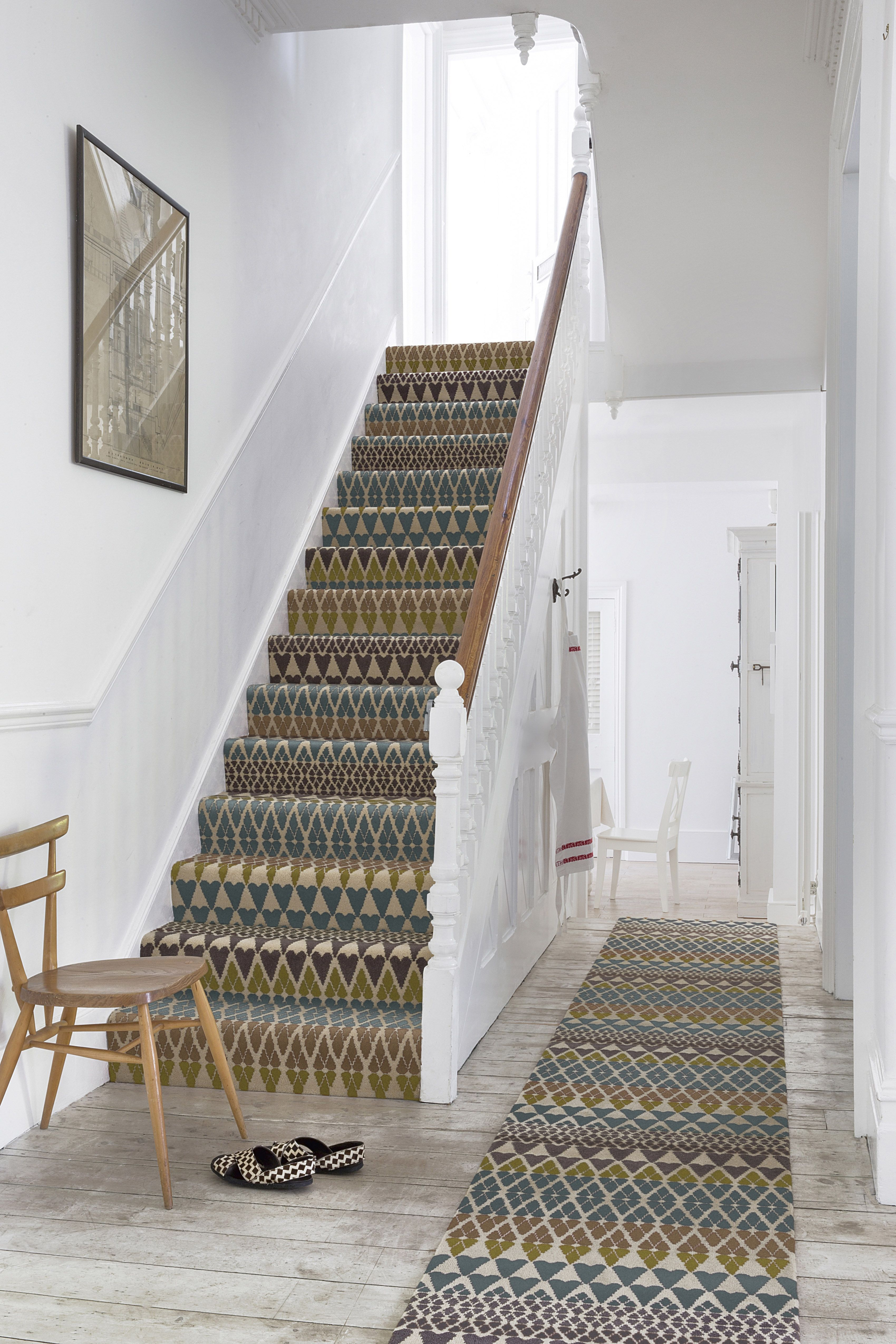 Designer Margo Sel Quirky B Wool Fair Isle Annie Stair Runners | Textured Carpet On Stairs | Floral | Wide Stripe | Short Cut Pile | Stylish | Brown