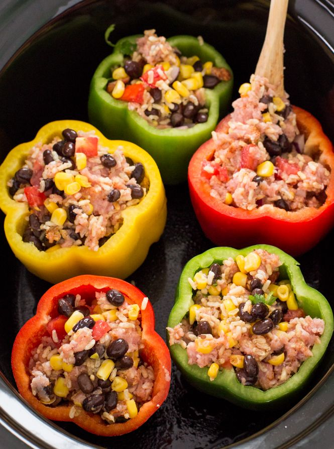 Mexican Slow Cooker Stuffed Peppers Recipe Stuffed Peppers Slow Cooker Stuffed Peppers Mexican Slow Cooker