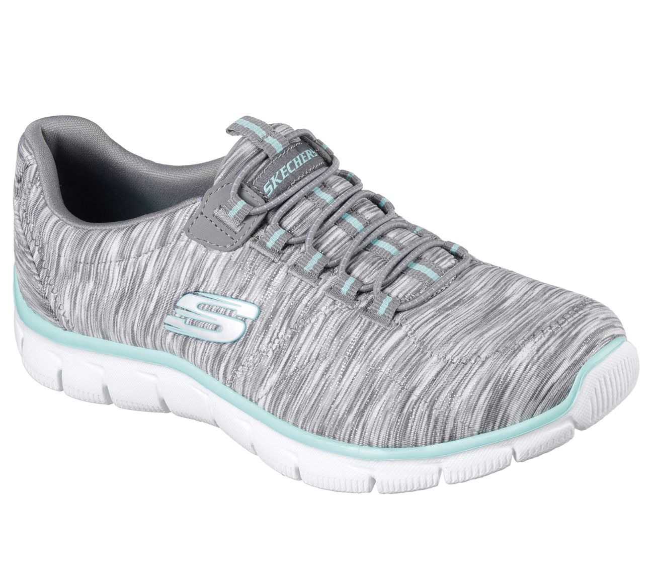 63a2a0257fb6 Win at life in style and sporty comfort wearing the SKECHERS Relaxed  Fit reg   Empire - Game On shoe. Sporty striped flat knit fabric upper in a  bungee ...
