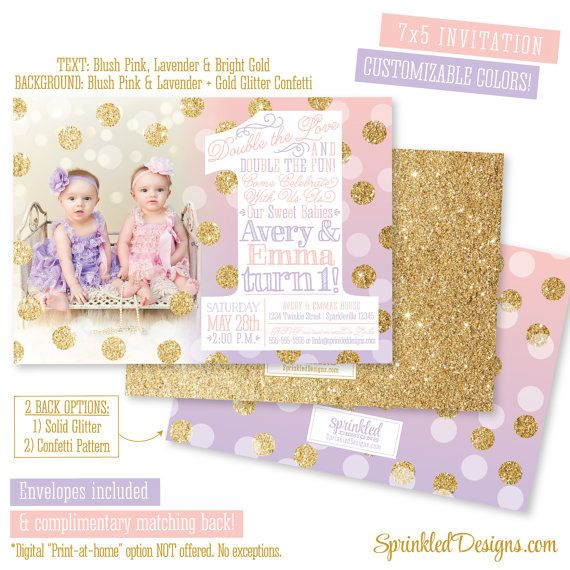 First Birthday Invitation For Twin Girls Blush Pink Lavender - 1st birthday invitations girl purple