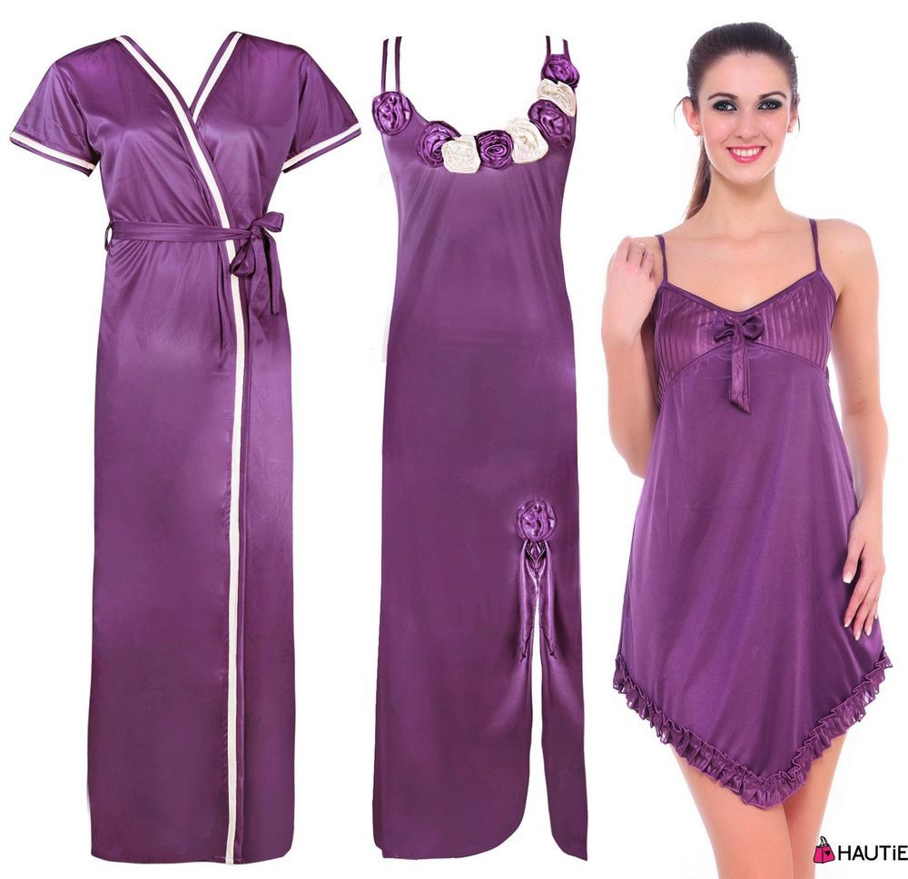 LADIES SATIN NIGHTIE WOMENS DESIGNER DRESSING GOWN ROBE NIGHTWEAR SET 8-14