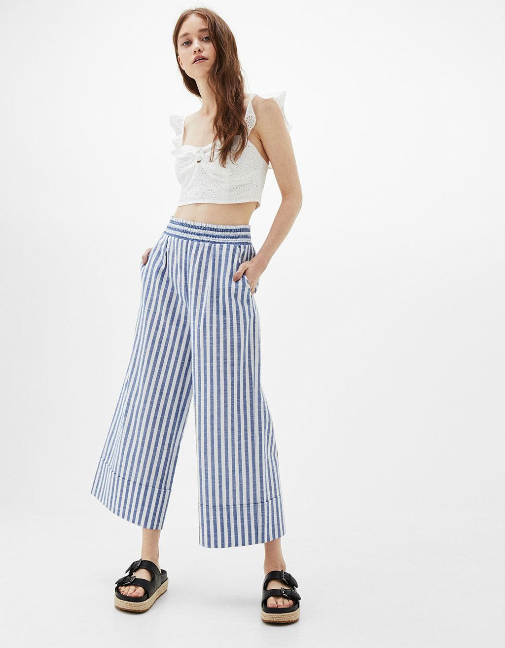 Jupe-culotte rayures taille élastique - Pantalons - Bershka France