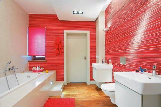 color combined bathroom wall