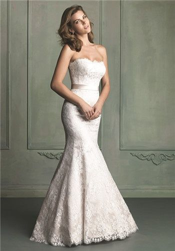 Strapless Lace Mermaid Gown With Thick Satin Sash 9117 From Allure Bridals
