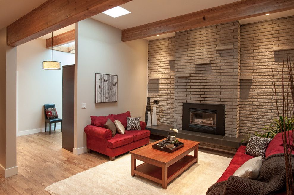 painting brick fireplace Contemporary Living Room Colour ...