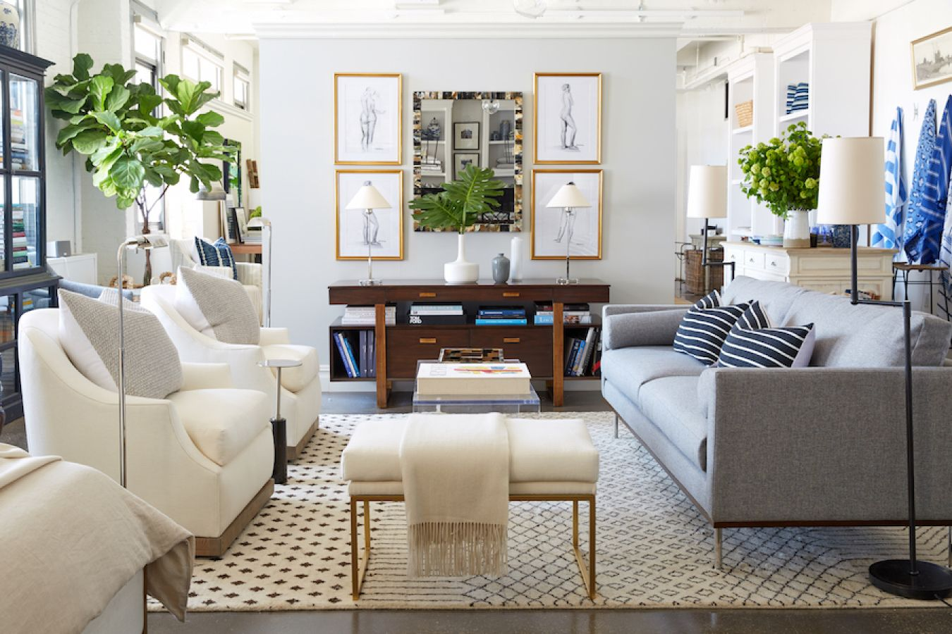 Love This Gray And White Living Room With Gold And Green Accents