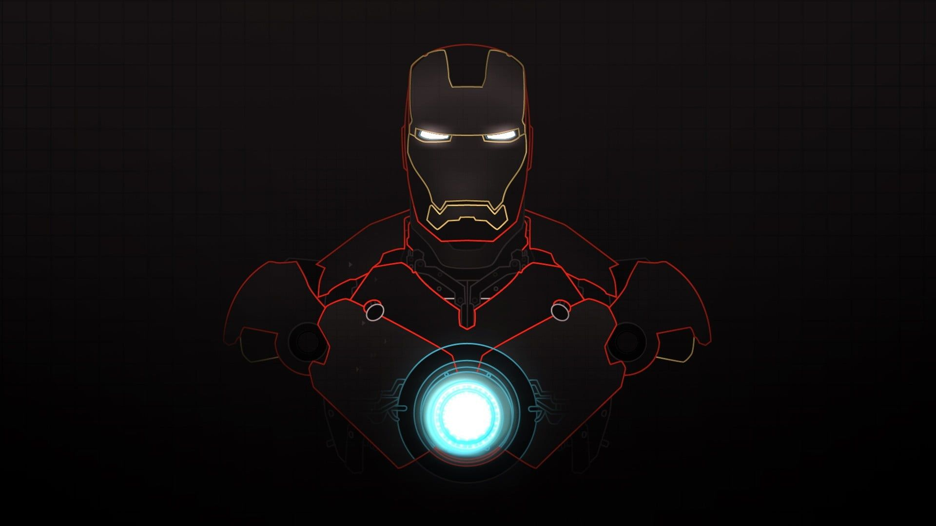 Marvel Iron Man Digital Wallpaper Iron Man Dark Background Superhero Grid Glowing Cyan Red Black Ba Iron Man Hd Wallpaper Iron Man Wallpaper Man Wallpaper