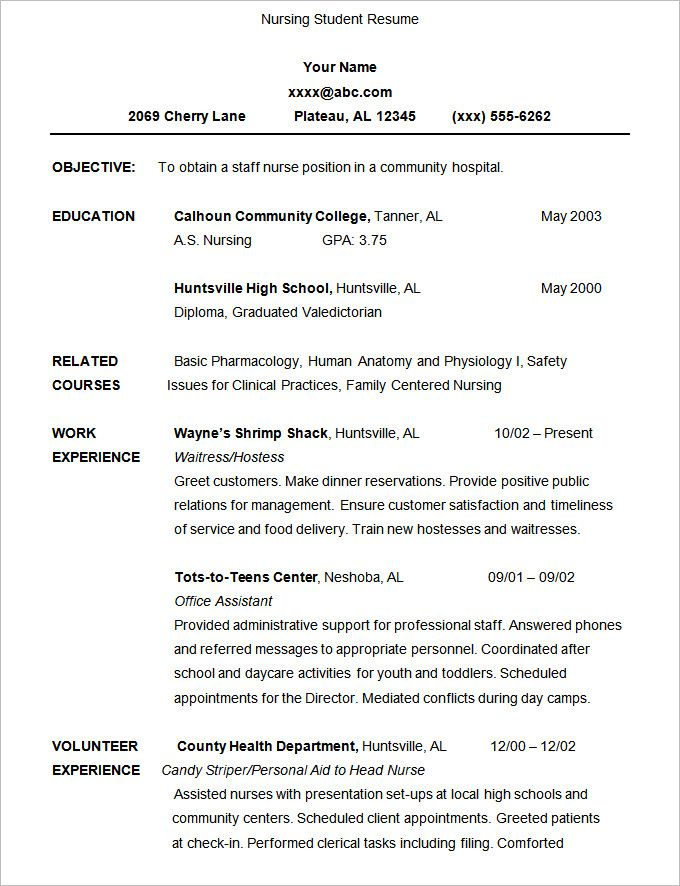 A Resume Format For Students Format Resume Resumeformat Students Student Resume Sample Resume Templates Nursing Resume Template