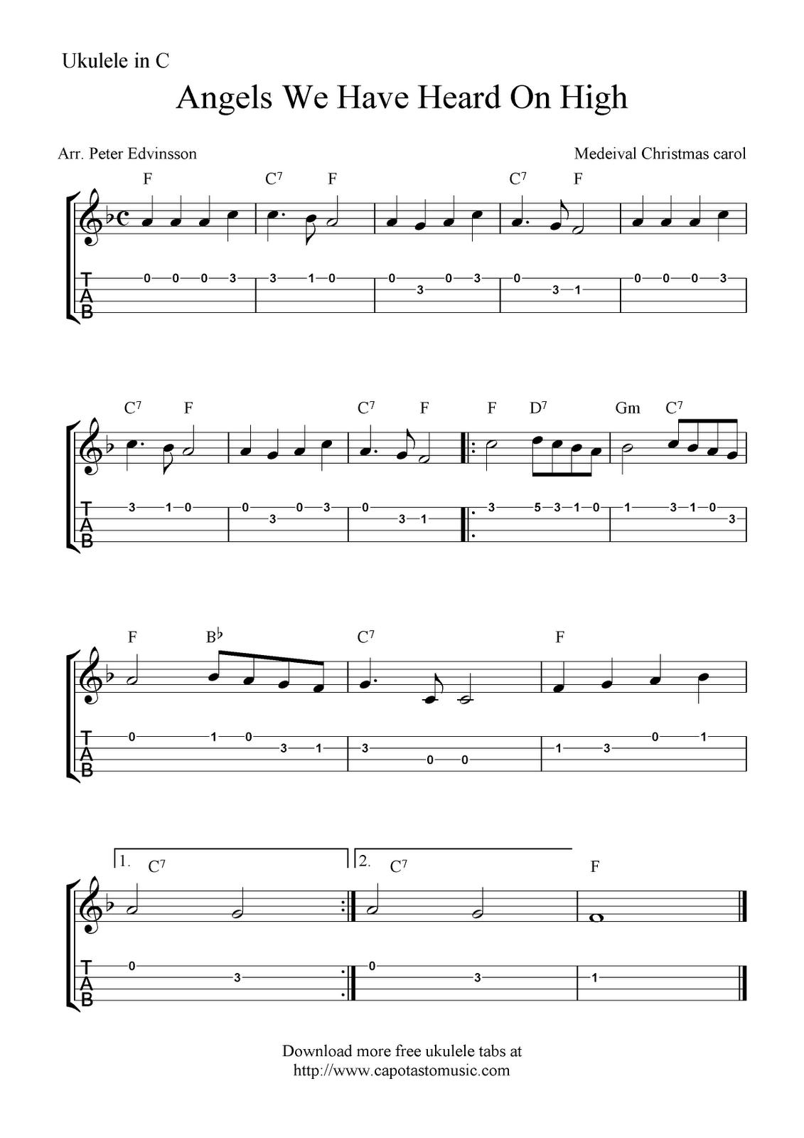 Angels We Have Heard On High Ukulele Sheet Music Free