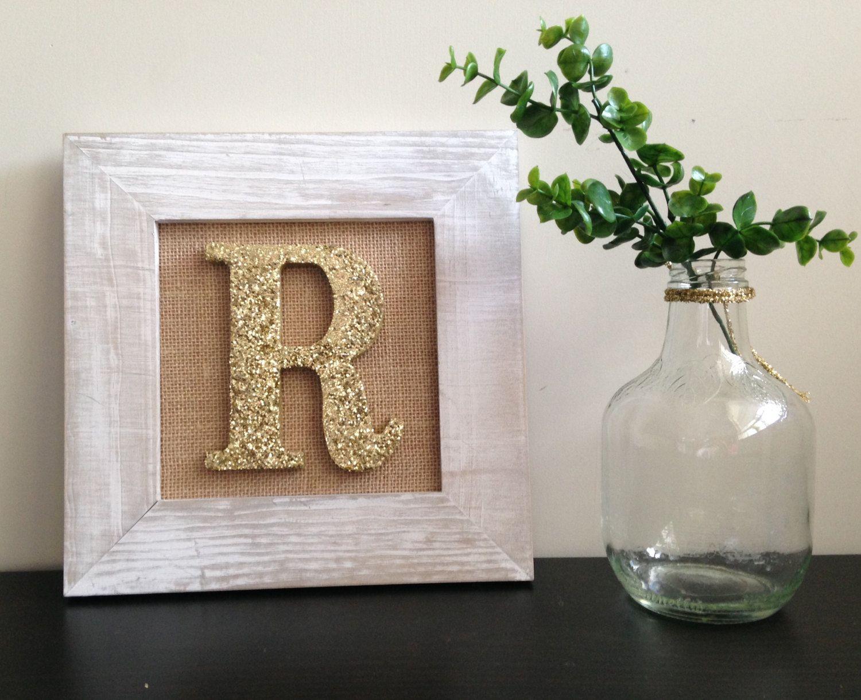 Framed Letter for Nursery Wall Art - White frame and Gold Glitter ...