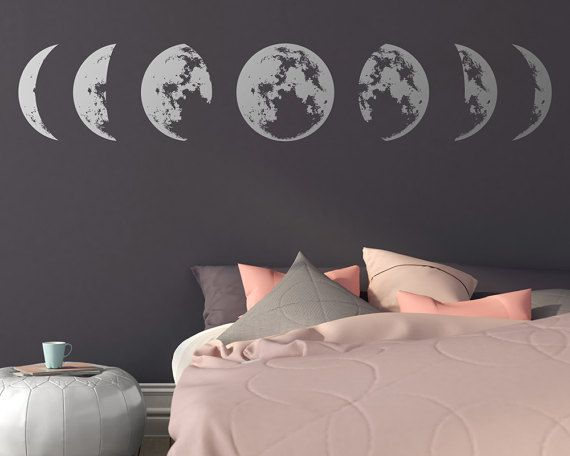 moon phases wall decal moon phases decor by kennasatodesigns vinyl decals pinterest moon. Black Bedroom Furniture Sets. Home Design Ideas