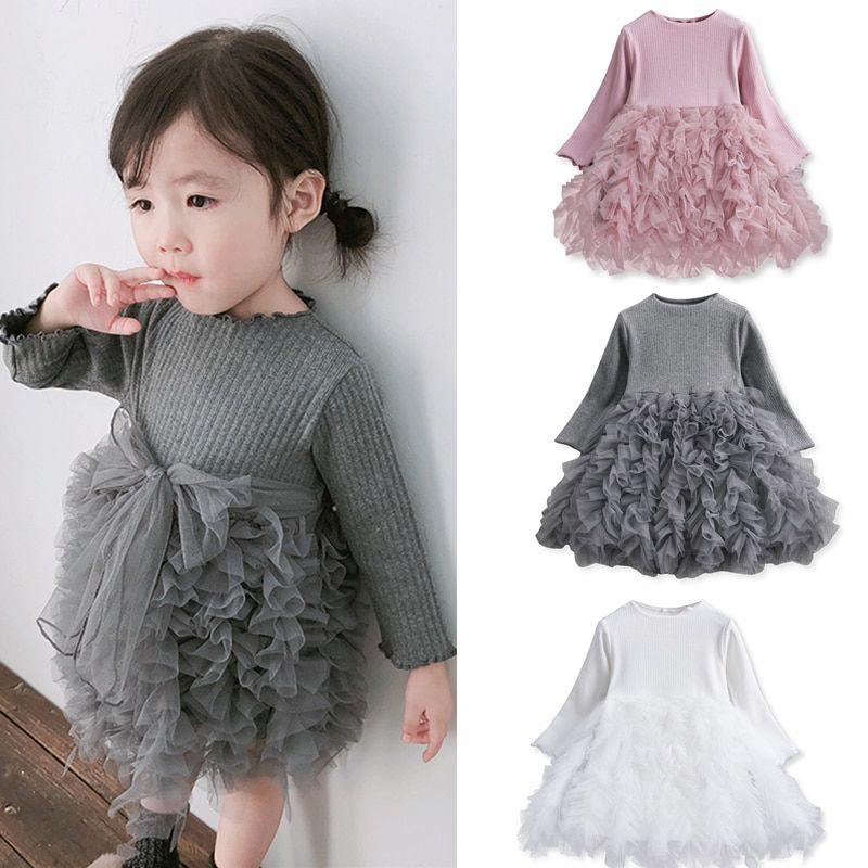 Flower Long Sleeve Smash Cake Baby Girl Clothes Newborn Girls Birthday Dress Christmas Party Dress for Girls Kids New Year Wear