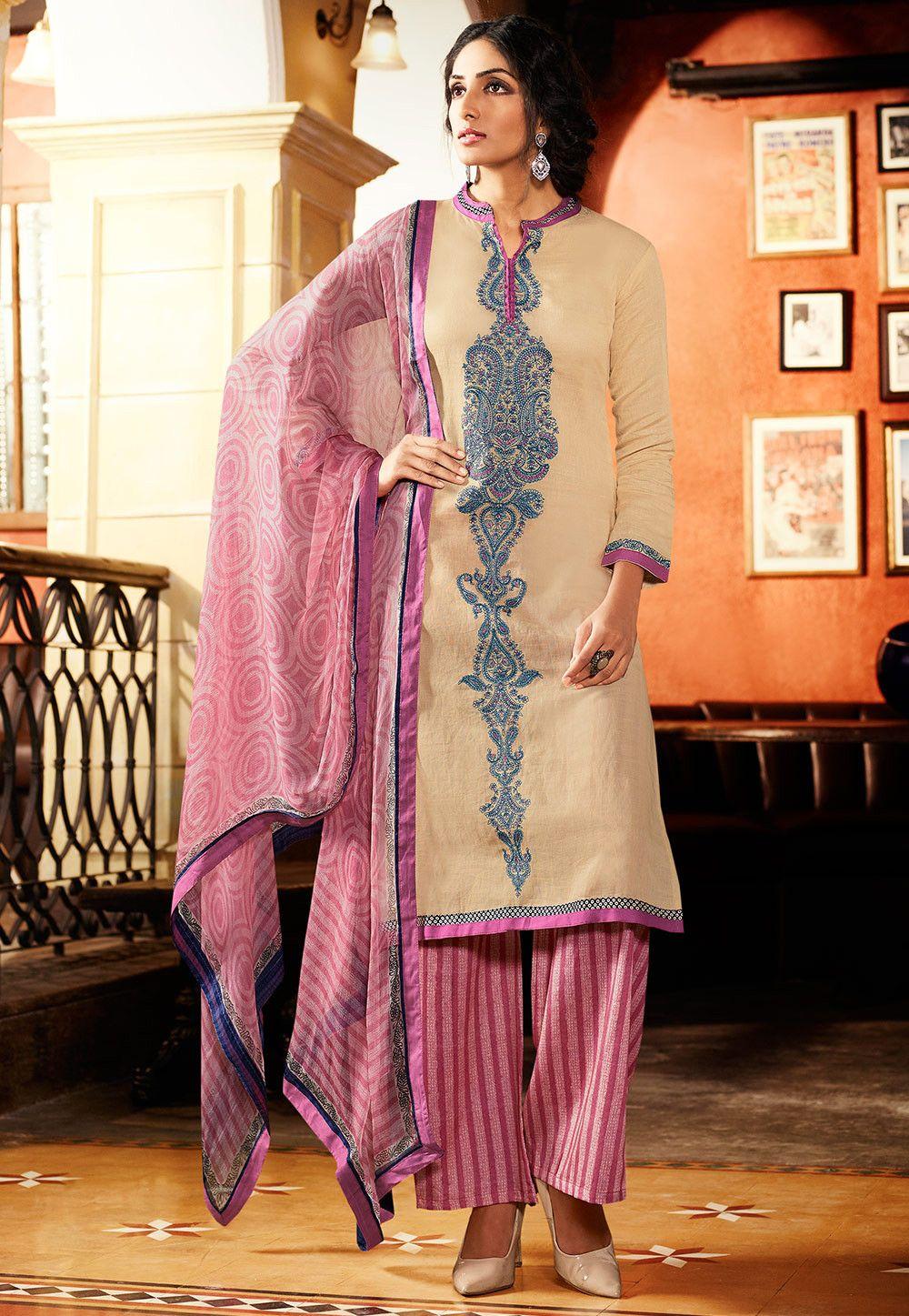 Buy Embroidered Linen Pakistani Suit in Beige online,Item code ...