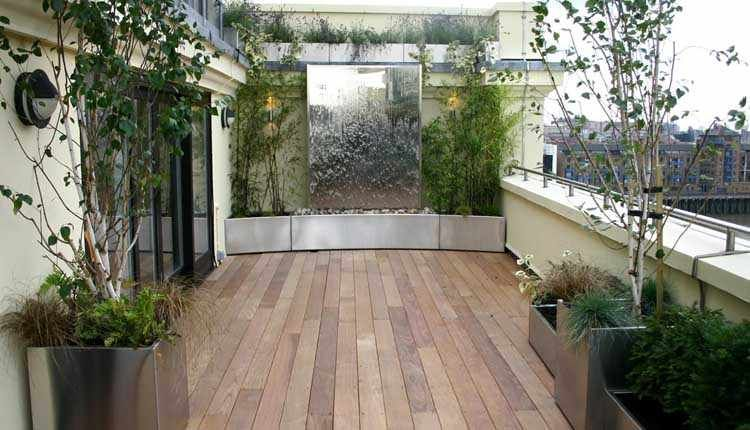 Fabulous Wood Decking Rooftop Garden Designs With Large Mirror On Wall, 38  Patio U0026 Garden U0026 Decoration Designs In Fresh And Beautiful Rooftop Garden  Design ...