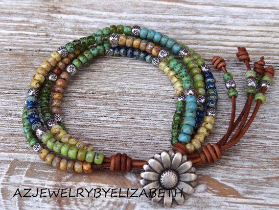 ORIGINAL DESIGN Beaded Leather Wrap/ Boho Seed Bead Leather Wrap Bracelet/ Bohemian Leather And Seed Bead Wrap Bracelet. **