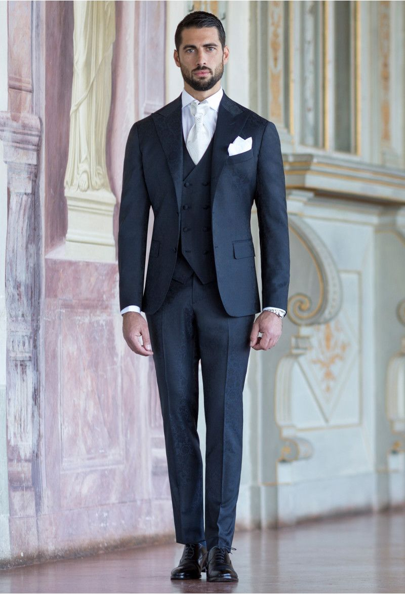 Damask Blue Suit With Double Breasted Waistcoat Hipster Mens Fashion Blue Suit Wedding Black Suit Wedding