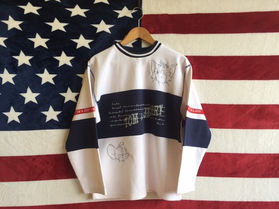 d3f386a56 Vintage 90s tom And Jerry Jumper Striped Jumper Tom And Jerry Crewneck  White Blue Colour Tom And Jer