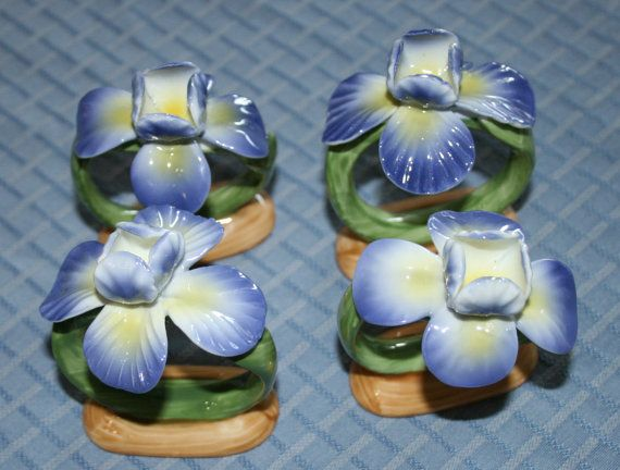 Pia Bone China Floral Napkins Holders rpa 1986 by BeAnnsAttic