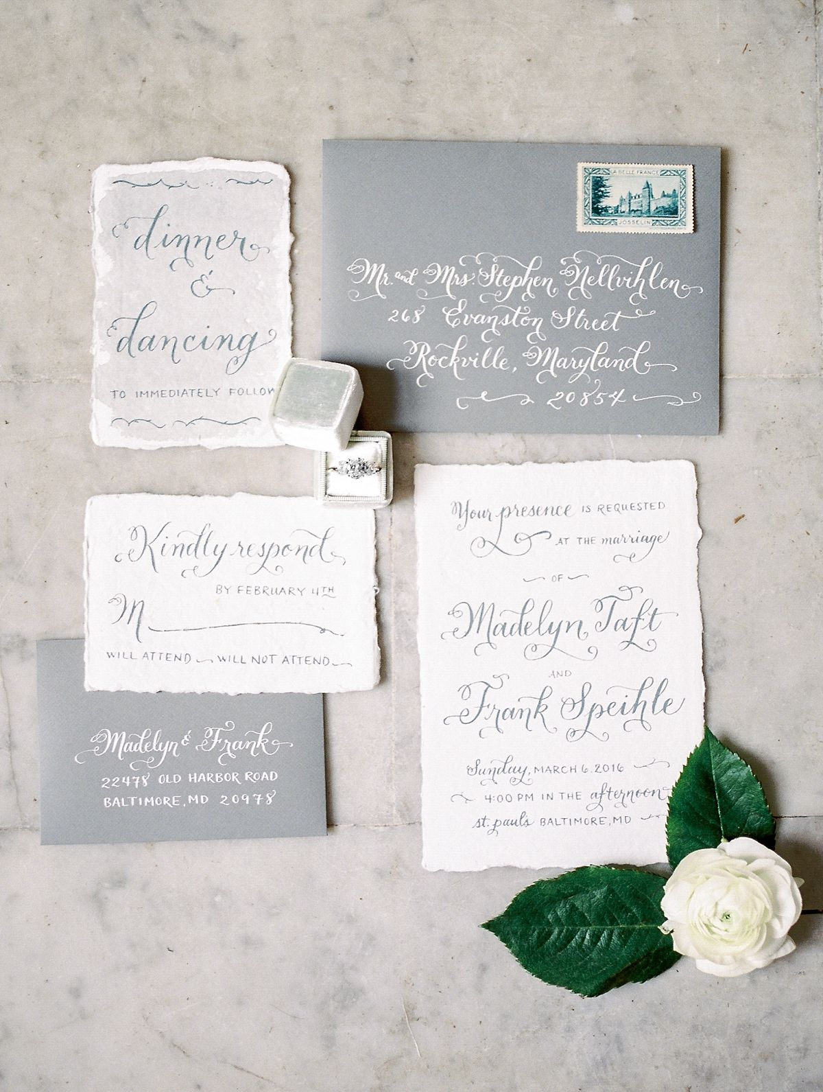 3 Reasons to Incorporate Calligraphy | Grey wedding invitation ...