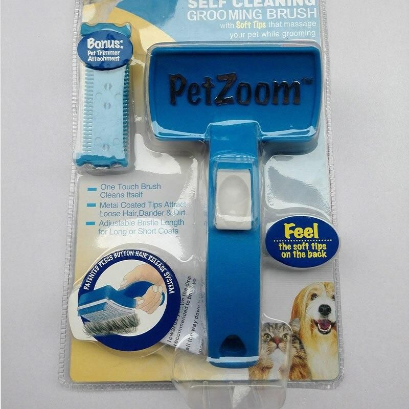 Smartlife PetZoom Dog Cat Pet Cleaning Grooming Brush Bonus Trimmer Hair Shedding Comb for Cats Dogs - blue / L