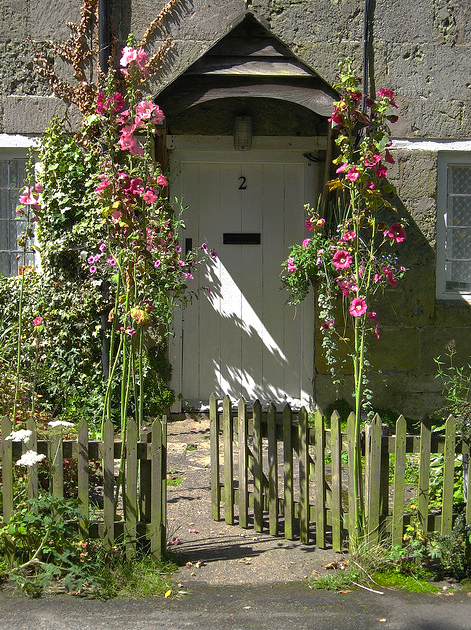 would love to find climbing flower to grow on railing on either side of my porch... what a lovely entry... flowers... hmmm