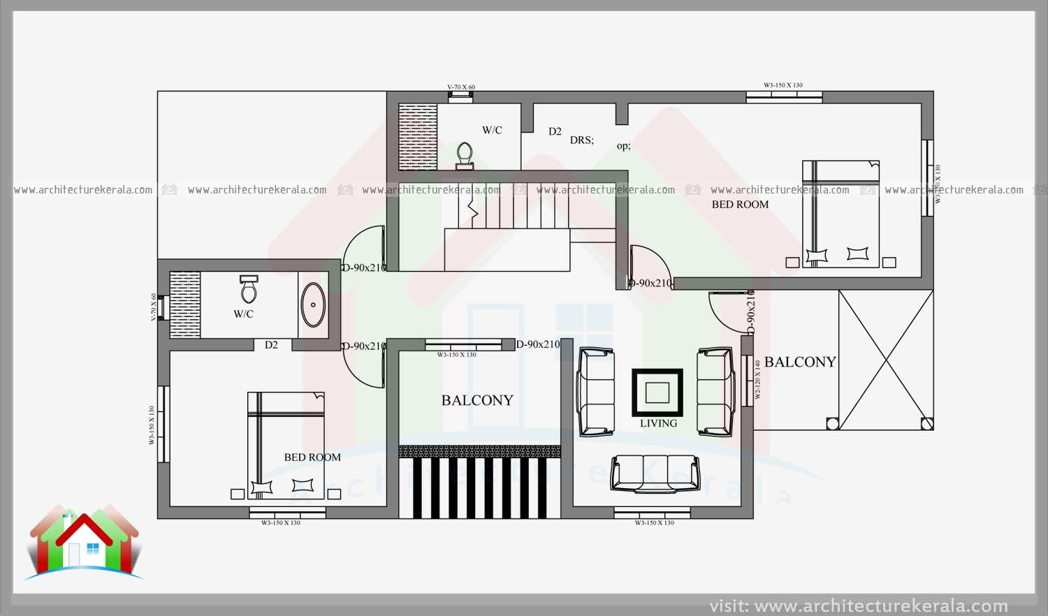 Double Storied Four Bedroom House Plan And Elevation Architecture Kerala Four Bedroom House Plans Bedroom House Plans House Plans