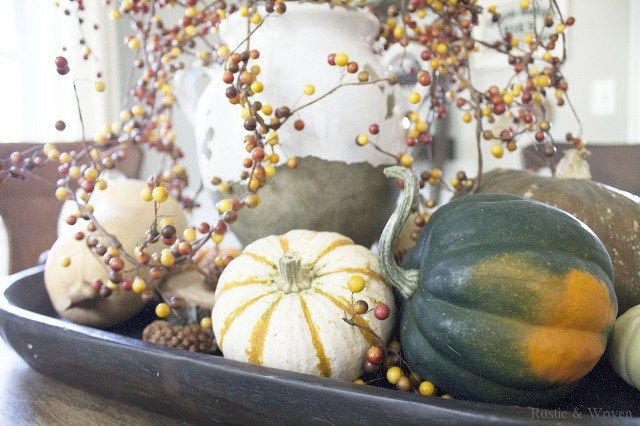 Rustic and Woven Fall Centerpiece