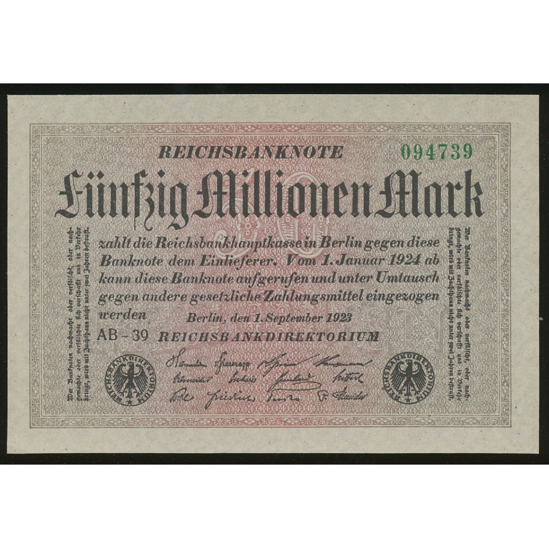 Germany 1923 50 Million Mark Inflation note.Condition: UNC (with minor foxing, common with its age and paper)Actual scans.Please make your own judgement about the condition of the note.Every banknote or set will come with a thick plastic sleeve for protection.https://carousell.com/p/currency-protection-sleeves-high-quality-thick-plastic-paper-money-currency-10-pcs-or-50pcs-pack-111557921
