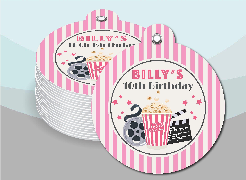Photo of Soirée cinéma, film en plein air, filles enfants, ados fête d'anniversaire rose cadeau faveur Merci Hang Tags fournitures MO101