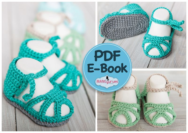 Häkelanleitung / e-book Baby Sandalen Babyschuhe von MAMIgurumi auf ...