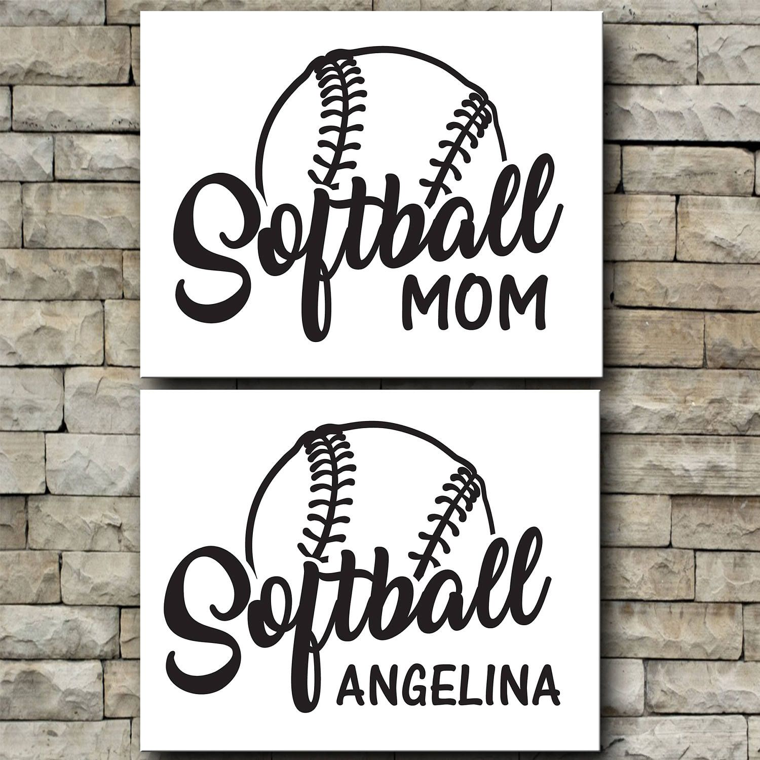 Softball Personalized Vinyl Decal Mom Dad Your Name Team Etsy Personalized Vinyl Decal Vinyl Decals Sports Vinyl Decals
