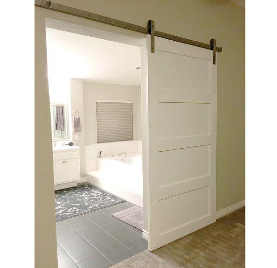 Custom Sliding Barn Door Modern Reclaimed Shaker Style Etsy Sliding Doors Interior Doors Interior Interior Barn Doors