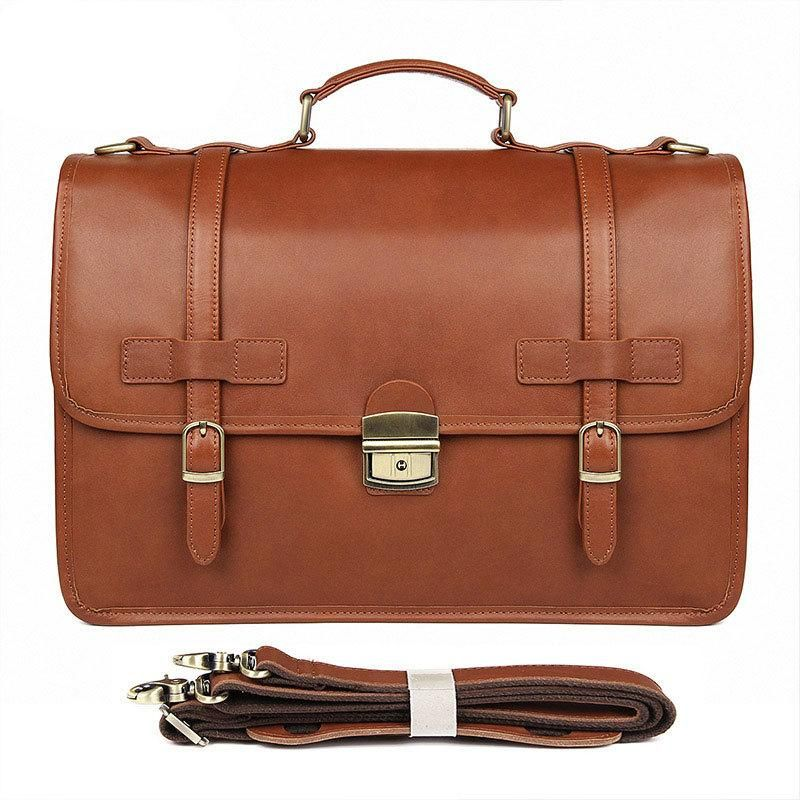 Cowhide Leather Briefcase Suitcase
