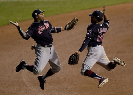Ap Photo Charles Rex Arbogast Cleveland Indians Left Fielder Rajai Davis Left And Shortstop F Chicago Cubs World Series Cubs World Series Mlb World Series