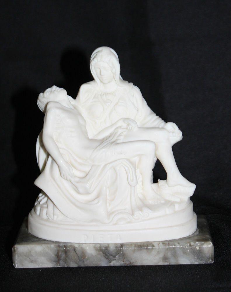 Vintage Pieta Statue Michelangelo White Alabaster On Marble Base