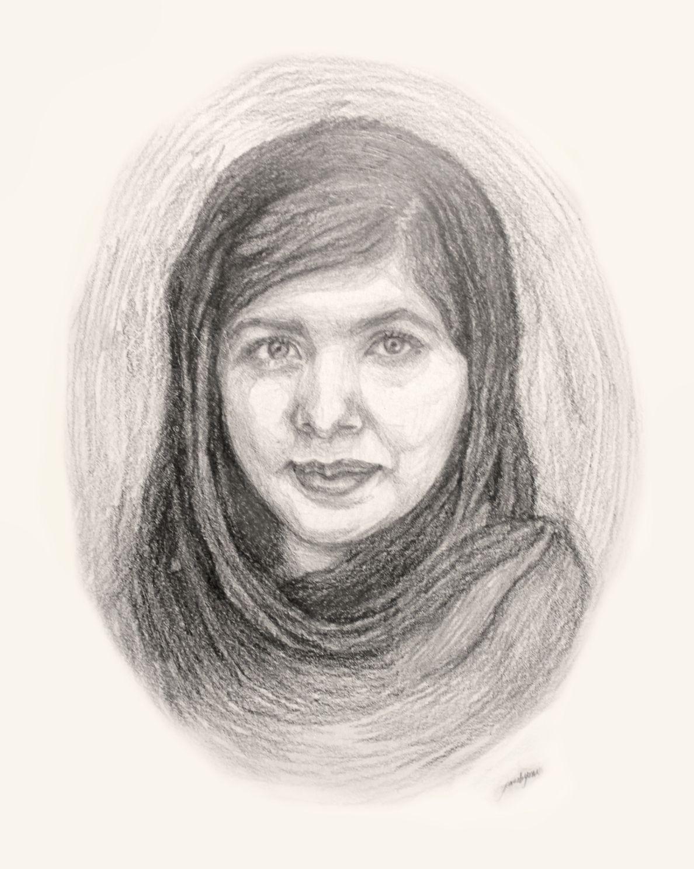 Malaladrawing malala yousafzai drawing faces drawings sketches artist pencil portrait