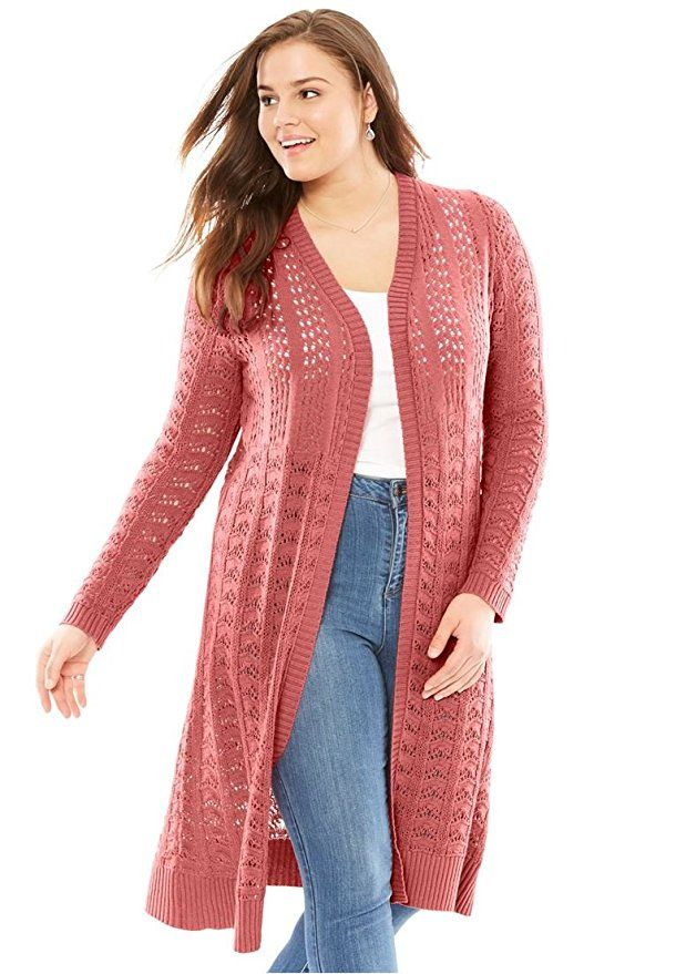 3405357288ebde Women's Plus Size Pointelle Cardigan Sweater Duster Strawberry ...