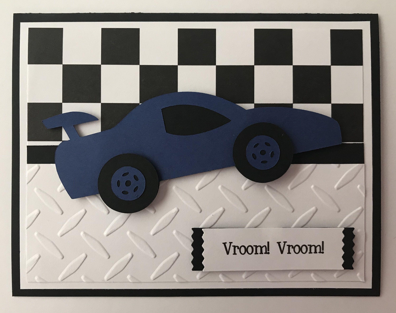Handmade Race Car Birthday Card A2 Checked Flag Etsy Birthday Cards Birthday Cards For Boys Race Car Birthday