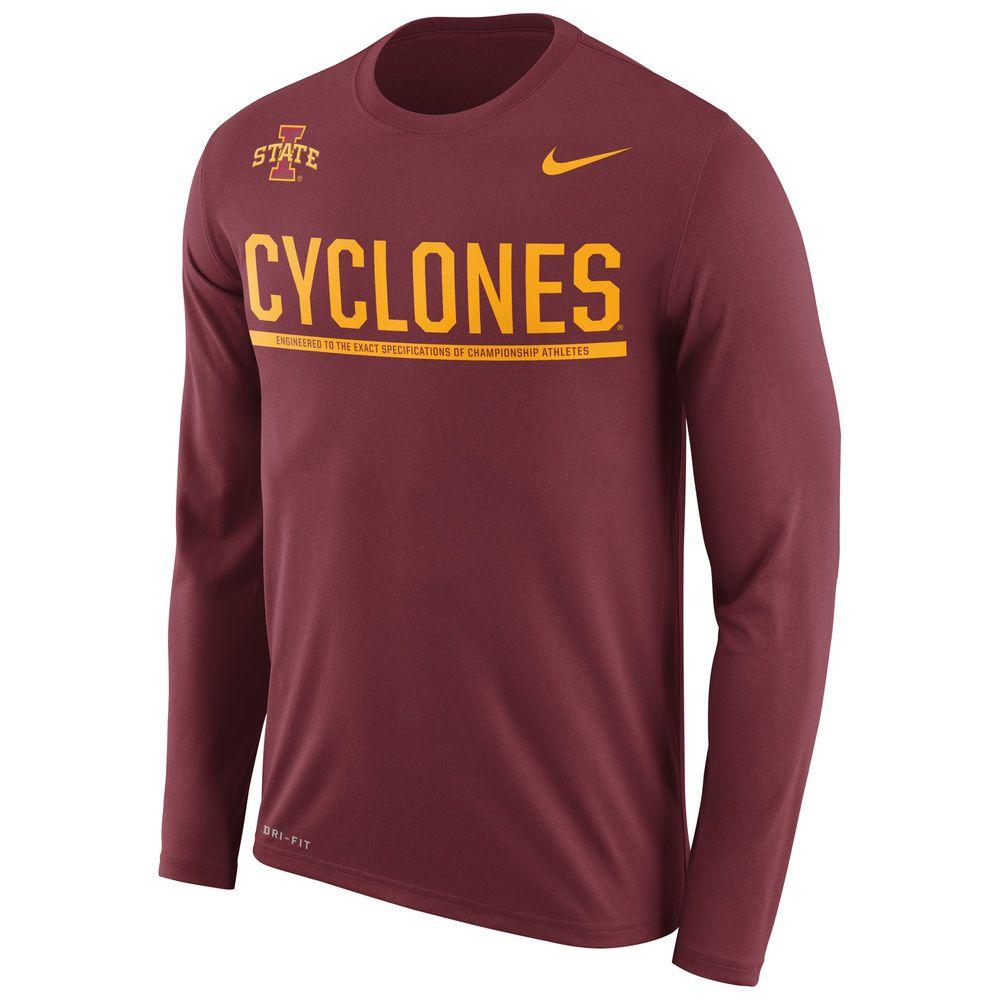 Iowa State Cyclones Nike 2016 Staff Sideline Legend Dri Fit Long Sleeve T Shirt Cardinal Long Sleeve Tshirt Men Nike Men Mens Tshirts