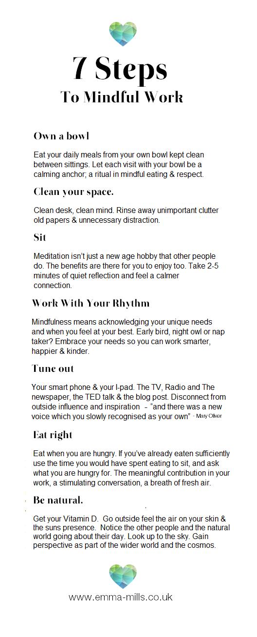 Steps To Mindful Work  Beauty    Mindfullness