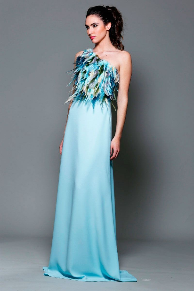 Vestido Asimétrico Azul largo Plumas Phoenix | Pinterest | Vestidos ...