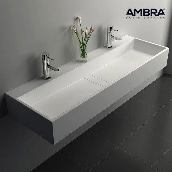 grande vasque suspendue rectangulaire 120 cm en solid surface valencia - Double Vasque