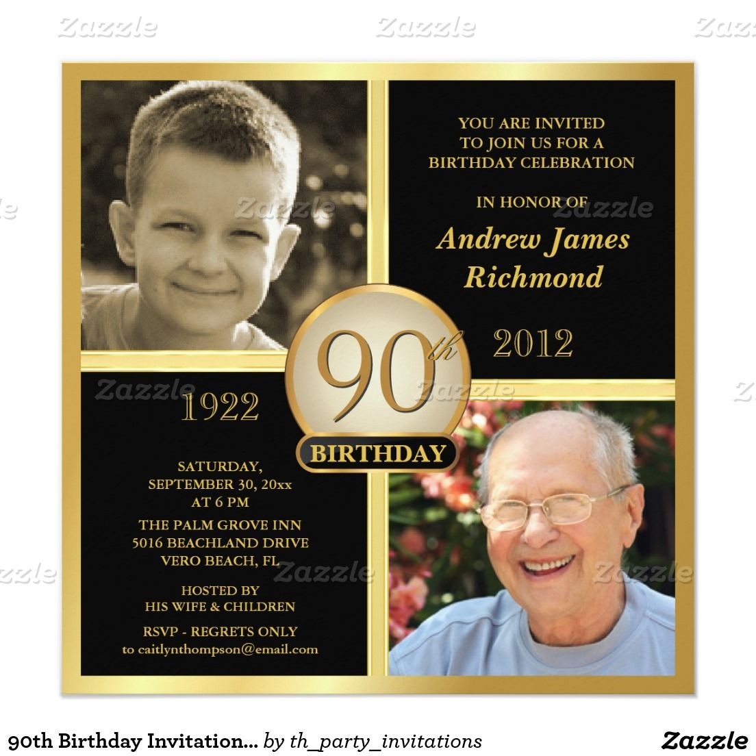 90th Birthday Invitations Then Now 2 Photos 525 Square Invitation Card